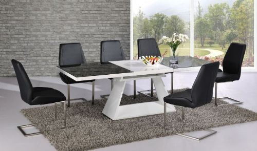 Silvano Extending Black / White High Gloss Contemporary Dining Table & Dalia Black Dining Chairs